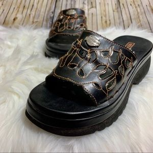 Harley Davidson sandal slide size 6 flames